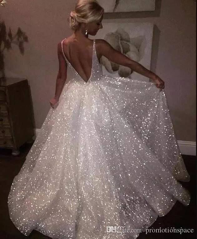 Sparkle Sequined Abiti da sera lunghi bianchi 2018 profondo scollo a V sexy lombardato lungo abiti da sera a buon mercato Pageant Prom Gowns BA7466