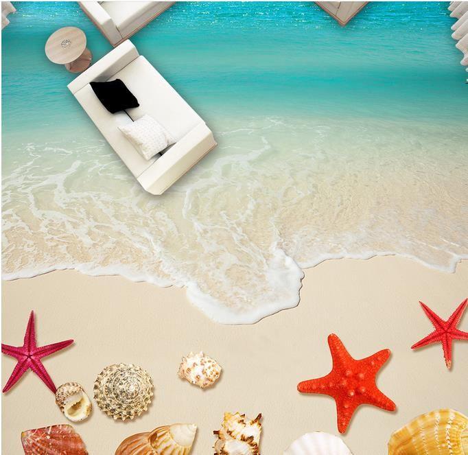 Papel tapiz de suelo 3D personalizado Conchas de playa, baño de estrellas de mar Pinturas murales de piso PVC PVC autoadhesivo Etiqueta de pared Papel tapiz impermeable