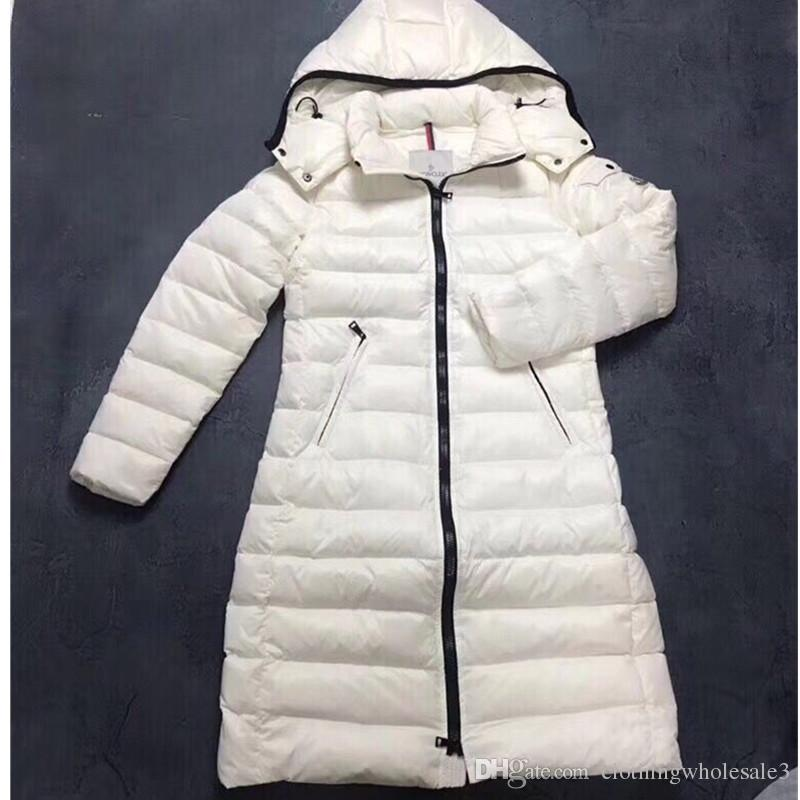 Classical Women's Moka Goose Down Coats with Hooded White Winter Slim Ladies 90% White Goose Down Parka Zipper Outwear Clothing Sale