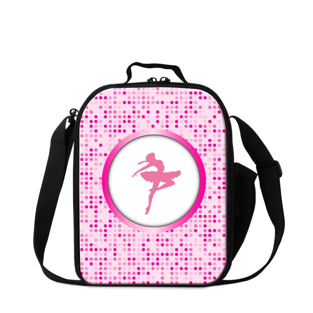 Pink Ballet Dancing Girls Lunch Box for Sports Square Insulated Cooler Bag School Lunch Bag for Girls Small Messenger Lunch Container Kids