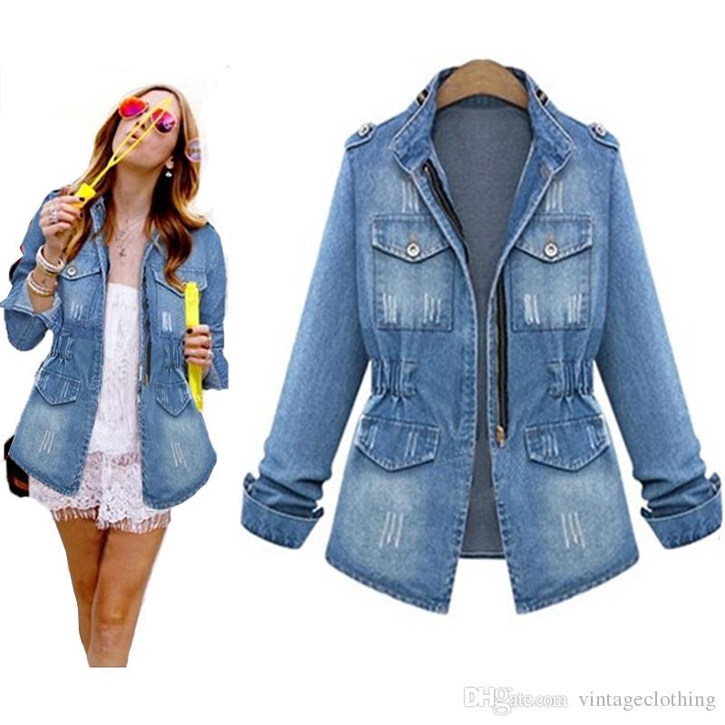 Wome Denim Blue Jacket Women Jeans Coat Distressed Slim Waist Tasche a manica lunga Jeans Giacche Capispalla S-5XL
