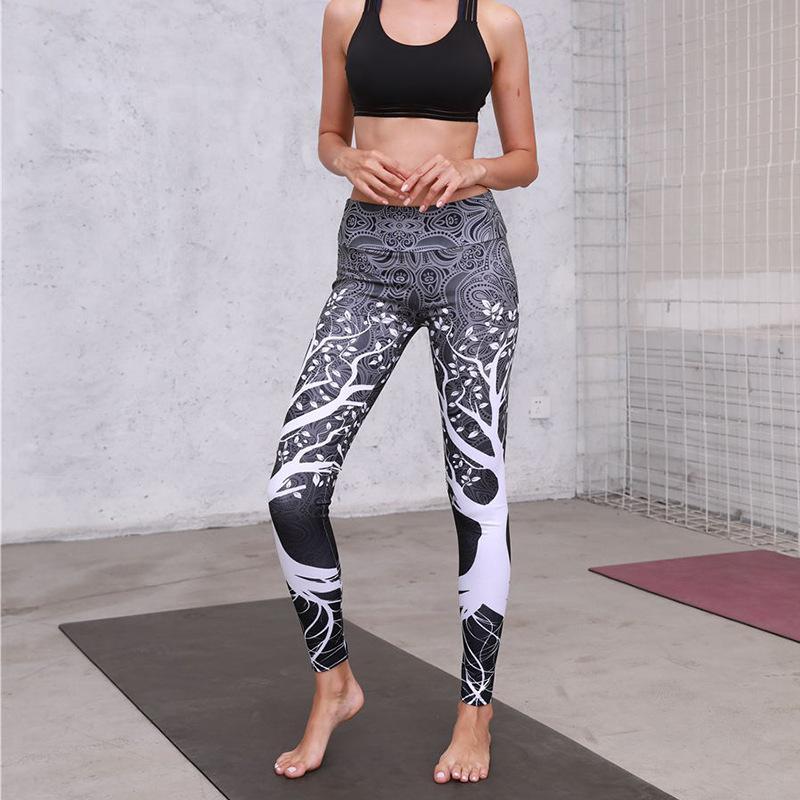 2018 осени и зима новых лосины цифрового цветочного печатных bottompants женских видов спорта йог