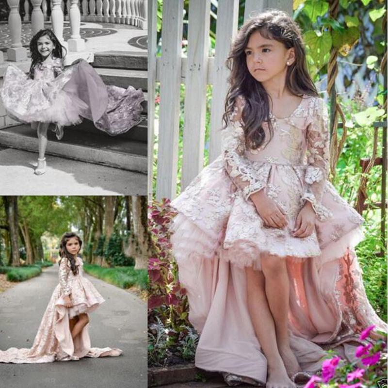 Long Sleeves Toddler Pageant Dresses Hi Lo Girl's Formal Party Gowns V Neck Short Front Long Back Lace Flowergirl Dresses for Wedding