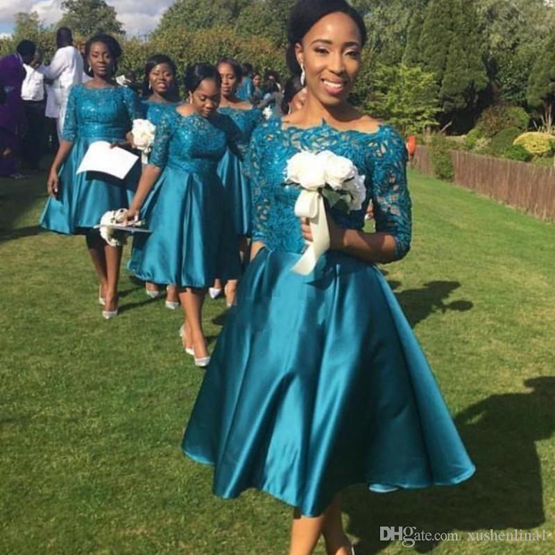 Vintage Herbata Długość Druhna Suknie 2018 Kraj Kraj Koronki Pół Rękaw Satyna Krótki Wedding Guest Party Suknie Moda Afryki Prom Dresses