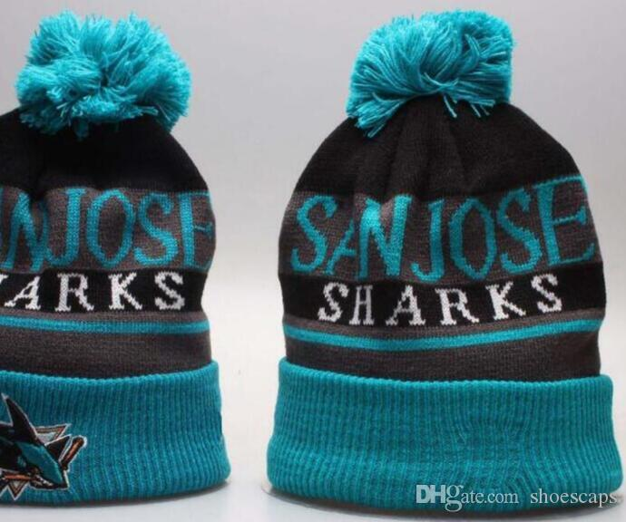 Discount sharks Beanie Sideline Cold Weather Graphite Official Revers Sport Knit Hat All Teams winter Warm Knitted Wool Skull Cap