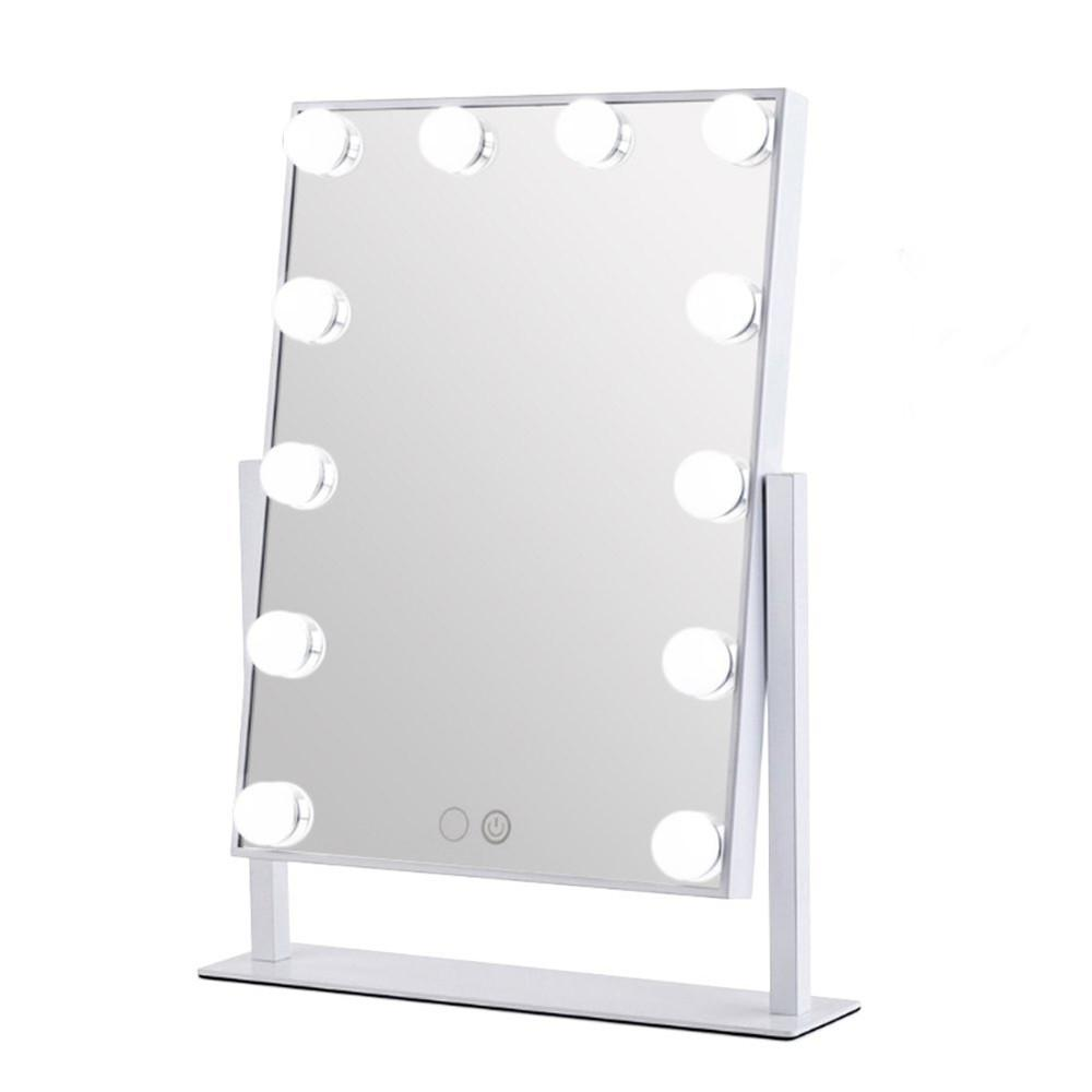 Hollywood Makeup Vanity Mirror Tabletops Lighted Mirror Cosmetic with 12 LED Dimmable Bulbs