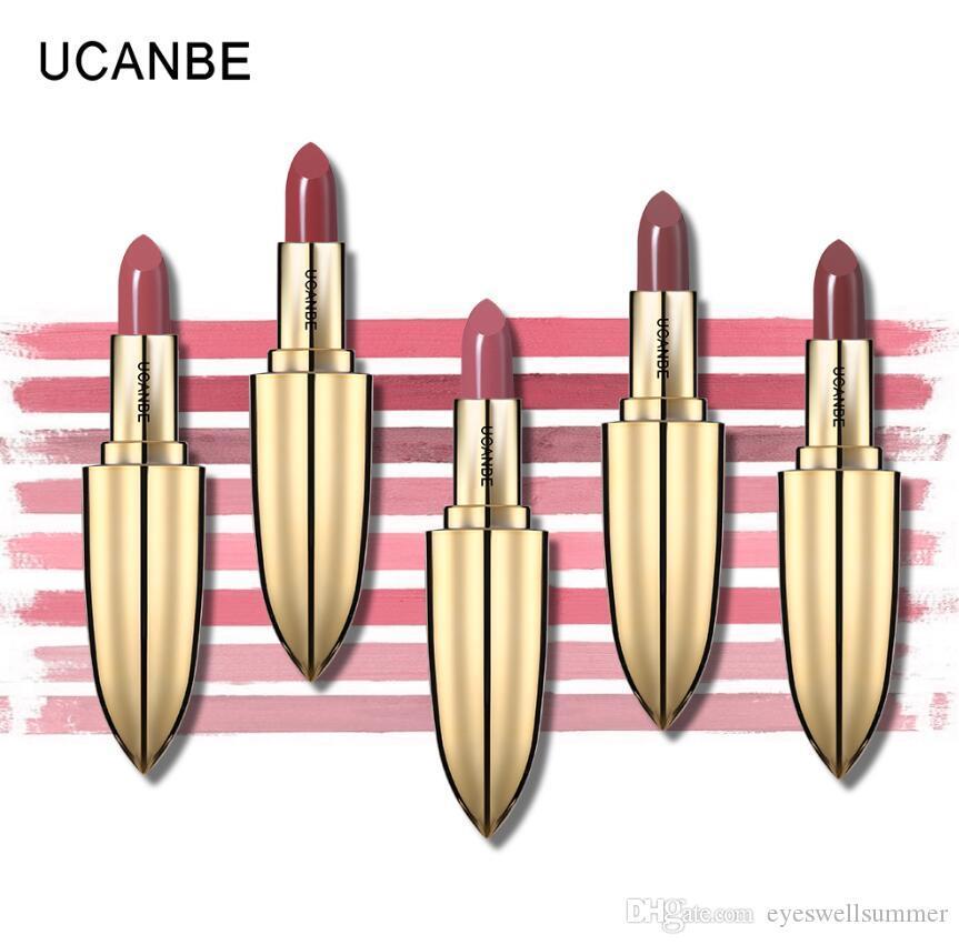 UCANBE Marque Couronne Velours Mat Rouge À Lèvres Maquillage D'or 5 Couleur Nude Longue Durée Pigment Lèvres Bâton Naturel Lèvres