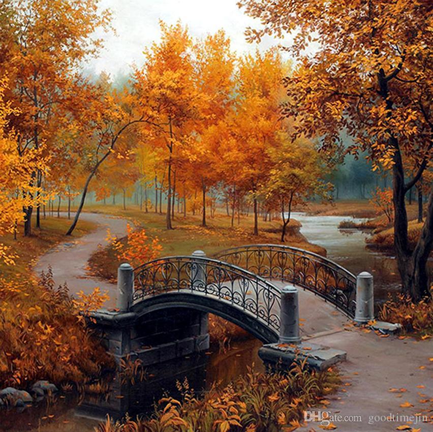 Bosque del otoño paisaje puente pintura cruz diy 5d agujas de diamante conjunto de herramientas de aguja de diamante redondo diamante Mosaico decoración de la habitación