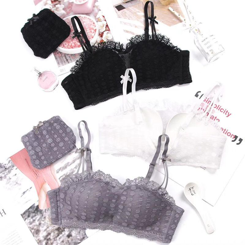 wholesale Women Fashion Gray White Lace Cover Bow Bras Straps Panties Wireless Push Up Bra Sets Underwear Sexy Lingerie A B 36