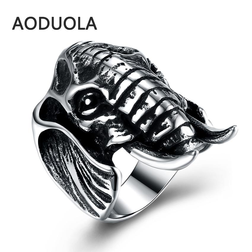 Stainless Steel Ring Animal Elephant Punk Big Size rings Vintage Biker Large Antique Men's Rings For Seal men Rock mens Jewelry