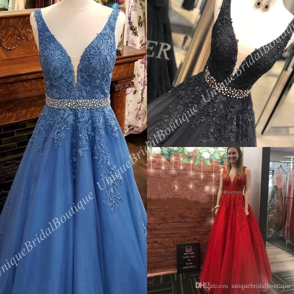 A Line Prom Dresses 2k19 Deep V-Neck Plunging Neckline Blue Black Red Lace Formal Evening Dress for Lady Real Pictures Beaded Belt Backless