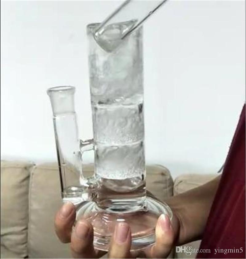 NewHigh qualité bong pipe à eau avec deux disques frittés et turbine perc titane ongles quartz bangerbowl sidecar rig dab clou (GB-444-1)