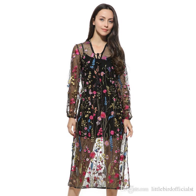 Hals Maxi Von Kleid Transparent Vestidos Mesh Krawatte Blumenstickerei Frauen Lange Beiläufige Lose Sexy Langärmelige Kleider Großhandel HWEIYD2e9