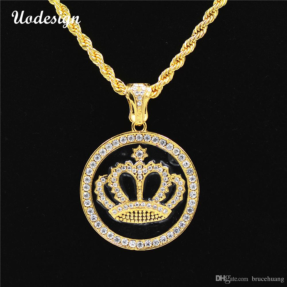 Uodesign Hip-hop Necklace Gold Color Alloy Men Round Pendant Inlay Rhinestone Necklace HipHop Round Crown Franco Chain