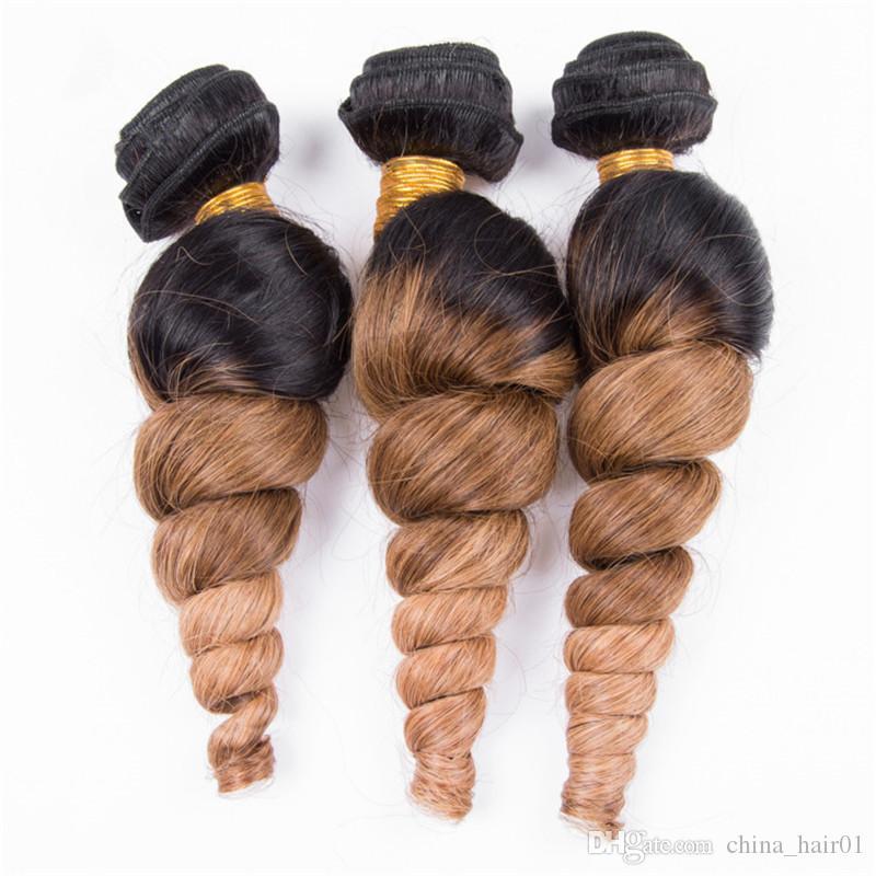 #1B/4/27 Three Tone Ombre Peruvian Human Hair Weaves 3Pcs Loose Wave Black Brown and Honey Blonde Ombre Human Hair Bundles Deals