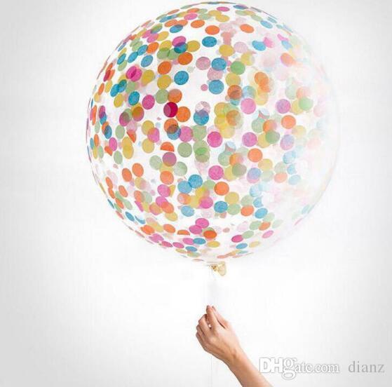 Confetti Filled Balloons Helium Quality Party Wedding Valentines Birthday Decoration round transparent ballon Hen Decor 36''