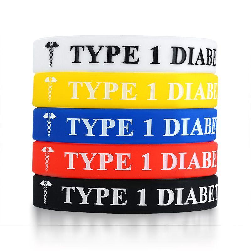 5PCS TIPO 1 brazalete de alerta de silicona DIABETES anticoagulante Hombres Mujeres pulseras Blanco Amarillo Rojo Azul Negro