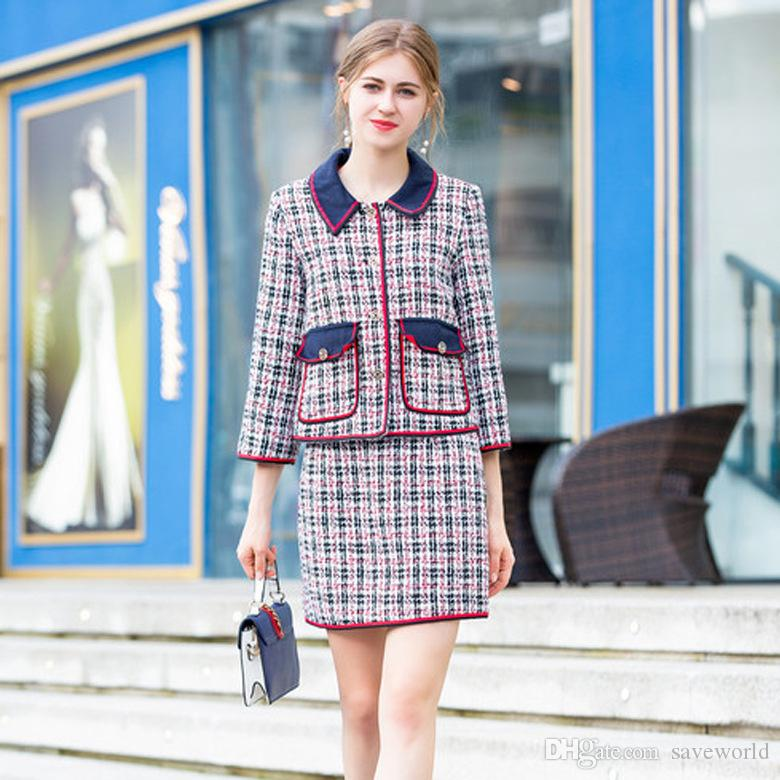 Tweed Coat & Half Skirt Suit Europe and America 2018 New Dress European Station Long Sleeved Fall Plaid Skirt 2 Pieces Suit