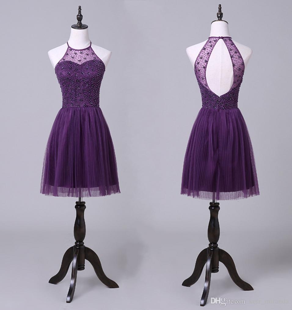 Elegancka wisząca szyja Purple Prom Dresses Krótkie Wróć Hollow Tulle Party Plised Spódnica Europa i Stany Zjednoczone Koktajl Suknie wieczorowe