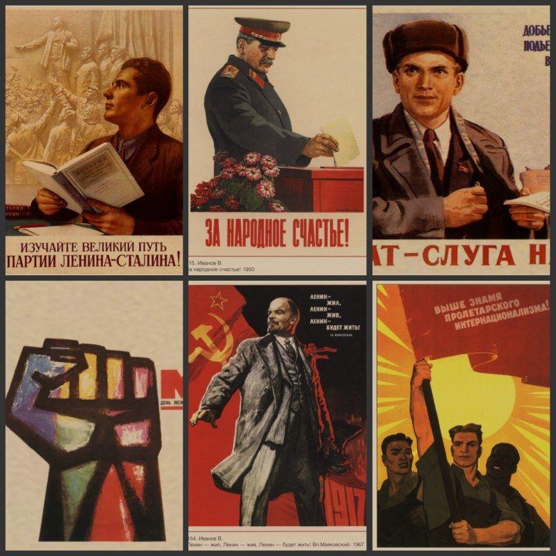 La seconda guerra mondiale La propaganda politica leninista Unione Sovietica URSS CCCP poster Retro carta kraft muro Poster decorativo vintage 3
