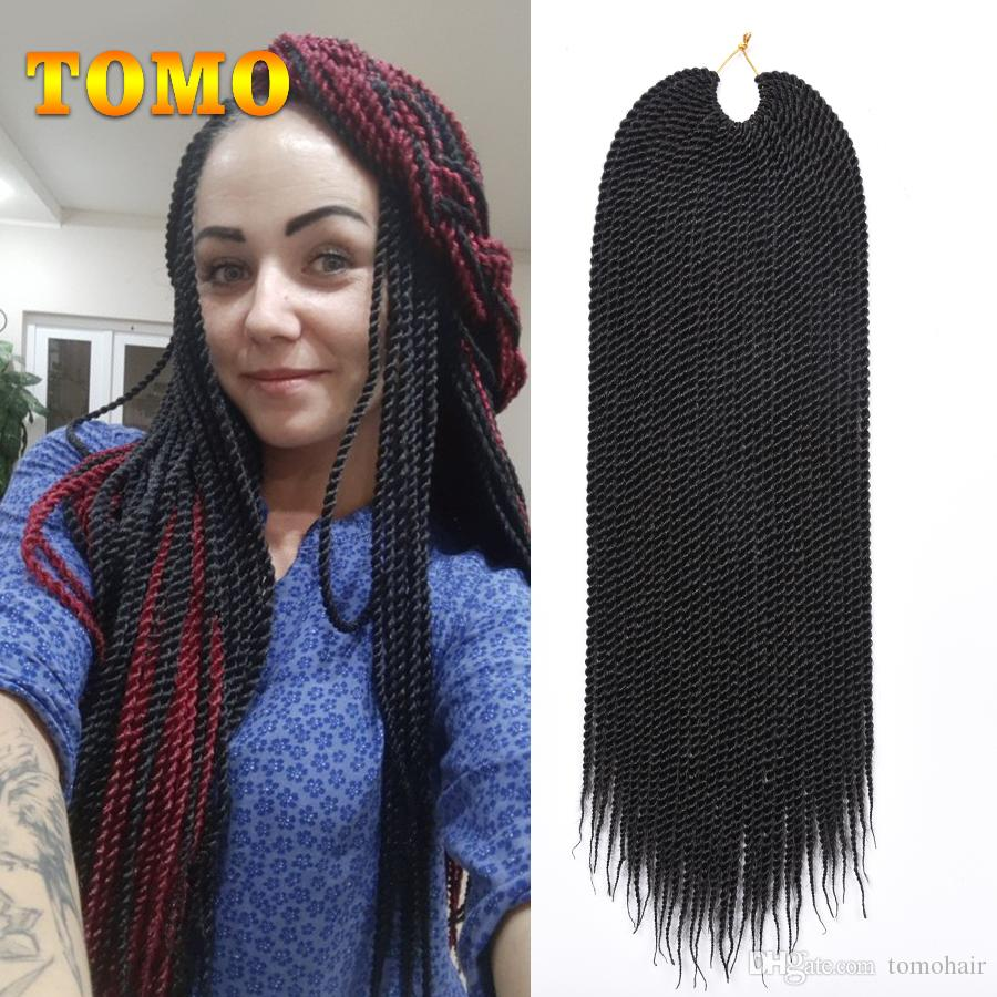 Senegalese Twist Braids Grey Burgundy Brown Crochet Braiding Hair Extensions African American Woman Synthetic Braided Hair Bluk 30Roots/pack