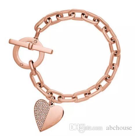 3 Farben Kristall Herz Armbänder Silber Rose Gold Für Immer Liebe Charme Armreif Manschetten für Frauen Herz Armband Liebhaber Armband Modeschmuck