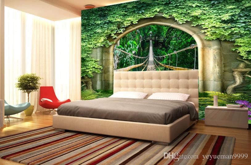 Mural personalizado Papel tapiz 3D Papel tapiz de paisaje Sala de estar TV Sofá Papel tapiz de pared para paredes 3 d