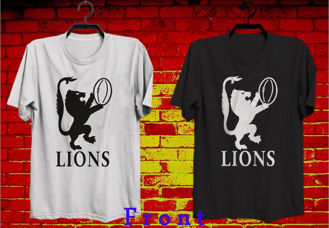 T-shirt Tee-shirt Homme Noir et Blanc XS-3XL RETRO RUGBY LIONS TOURING
