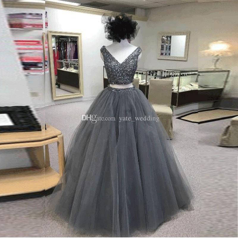 Vestidos Gris oscuro vestido de gala vestidos de baile cuello en V de longitud de tul de cristal de dos piezas de vestidos de baile partido real del azul fucsia