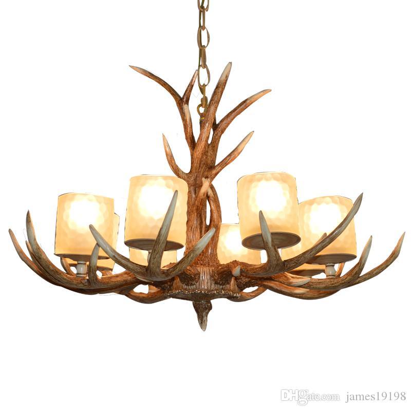 Американский рога люстра стекло абажур смолы светодиодные лампы ретро гостиная столовая свет бар современный дом освещение G193