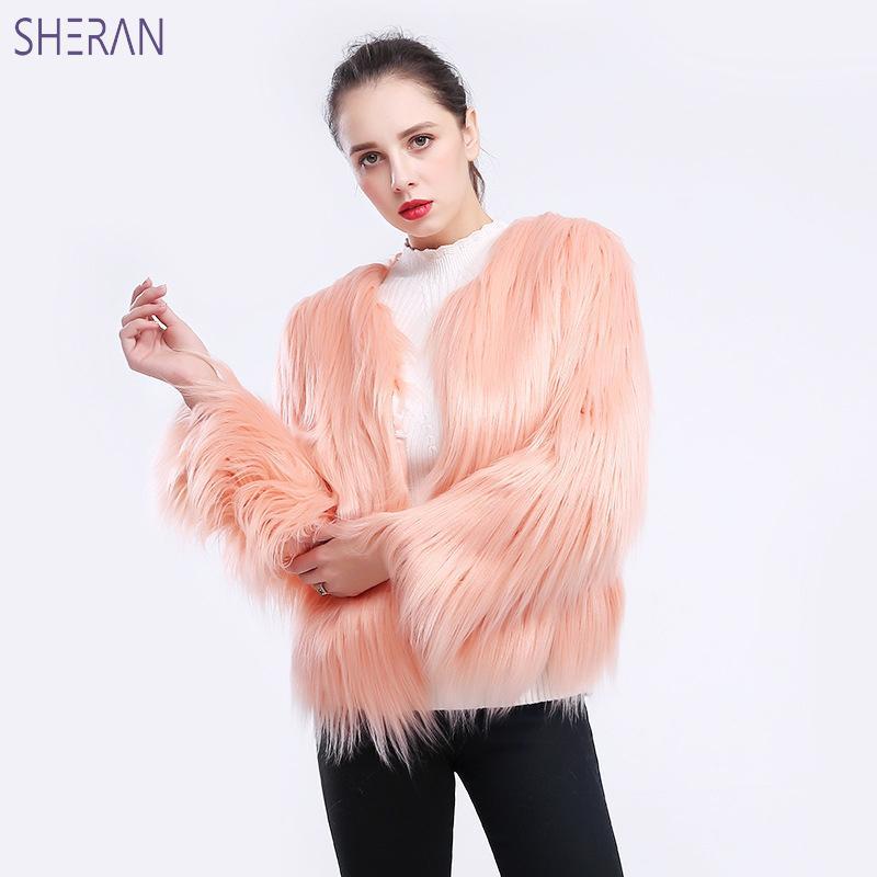 SHERAN Furry Faux Fur Coat Women 2018 Casual Autumn Winter Fake Fur Jackets Thick Warm Outerwears Hairy Overcoat Plus Size 3XL