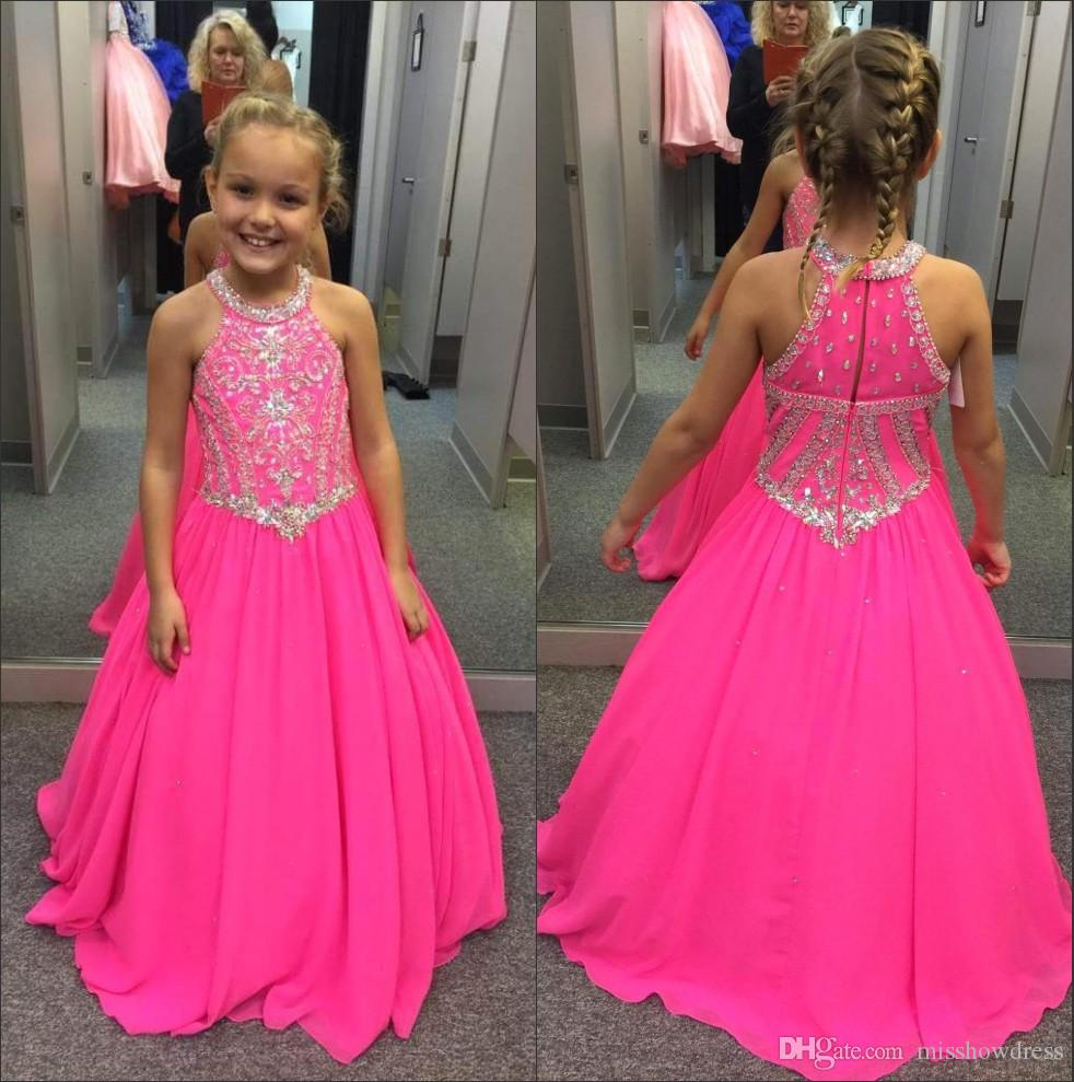 Halter Chiffon Girl's Pageant Dresses 2018 Fuchsia Stones in rilievo Top Floor Length Princess Birthday Party Abiti per ragazze BA7601
