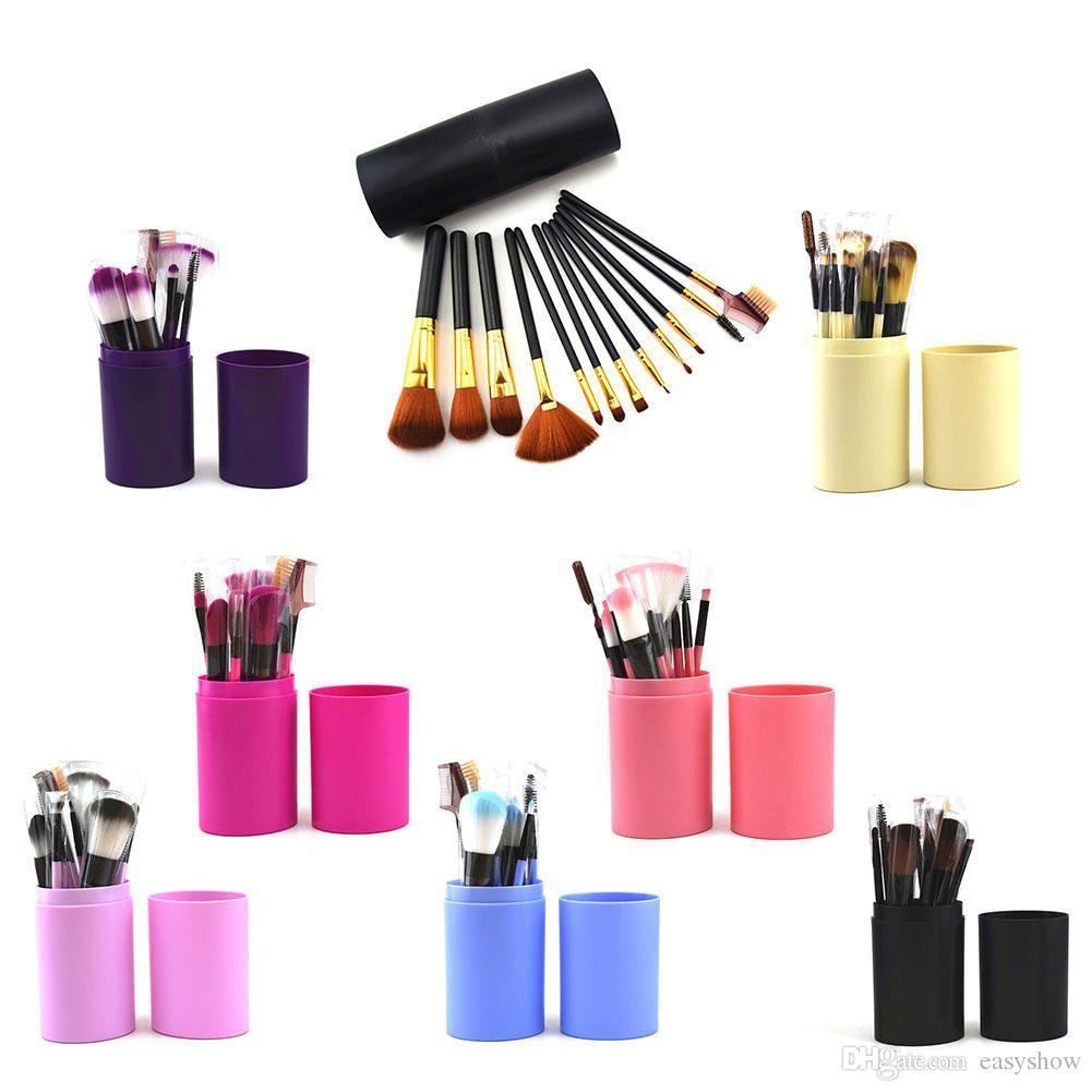 Wholesale Price!Top 12pcs/set Makeup Brush Beauty Beginner makeup brush set with round barrel make-up brush full set For Woman Free DHL