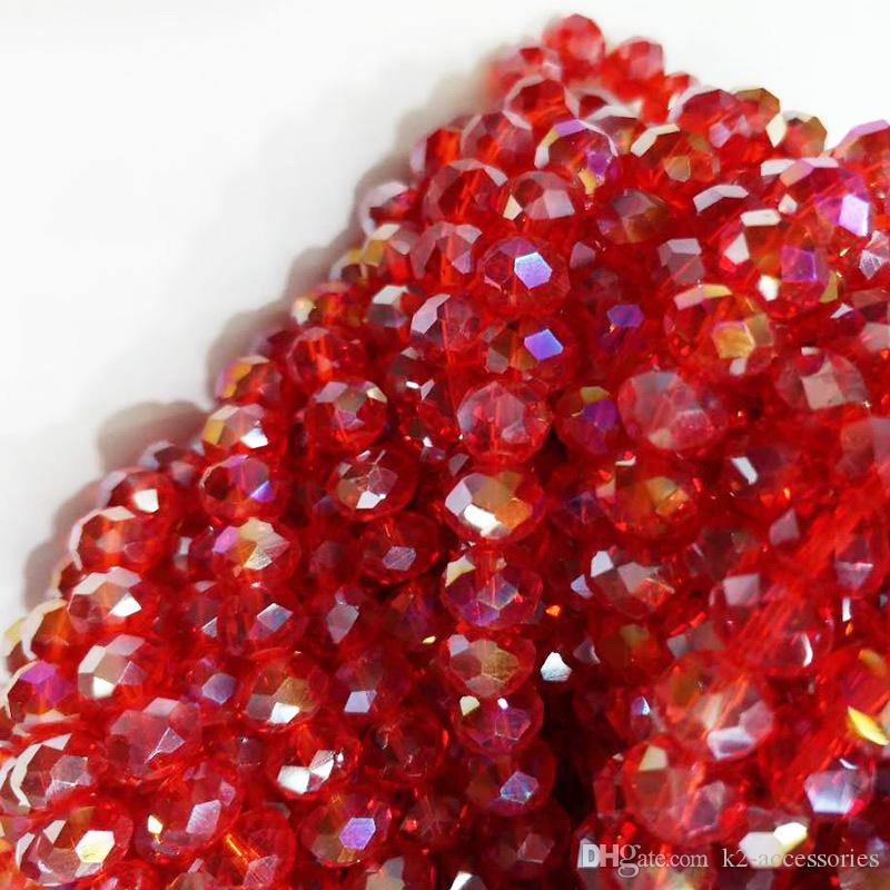 100pcs / lot 6MM ROT AB facettierte Kristall Rondelle Spacer Perlen DIY Schmuck machen