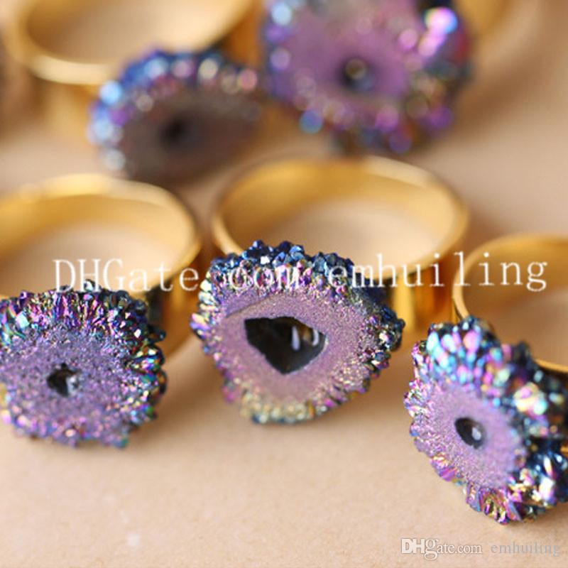10pcs 24K Gold Plated Freeform Titanium Coated Rainbow Druzy Quartz Crystal Geode Rock Rings Drusy Agate Gemstone Adjustable Ring Jewelry