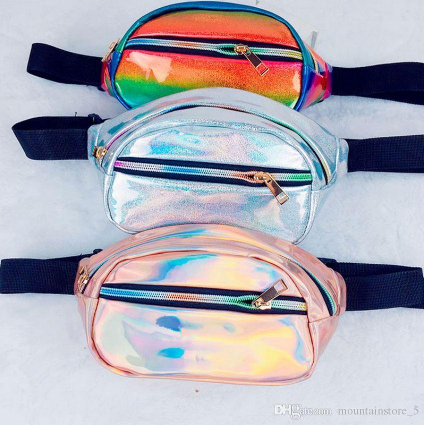 Newly Holographic Fanny Pack Women Laser Bum Bag Travel Beach Shiny Waist Bags Hengreda Raves Hip Bag Fashion Hologram PVC Travel