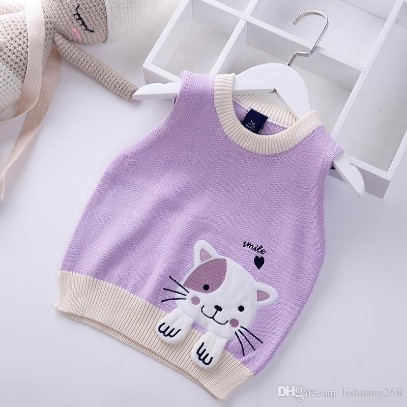 2018 Autumn Girls Knitting Vest Cartoon Embroidered cat Baby coat Knitted Sweater Vest Spring Kids Outerwear Children Jackets