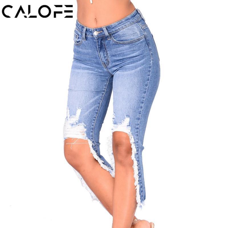 CALOFE Loch gerissen Distressed Jeans Frauen-Sommer-hohe Taillen-Denim-kurze Jeans-Frauen-beiläufige Knie-Länge Street dünne Hosen