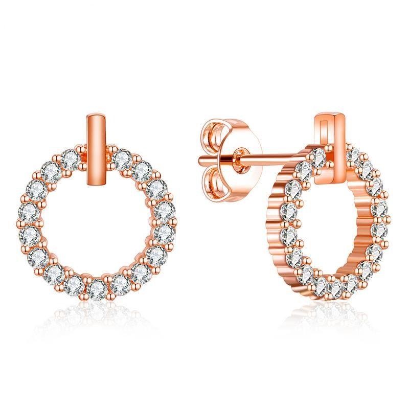 Rose Gold Color Fashion Simple Lady's Gemstone Zircon pendientes 18K oro plateado pendiente de cobre regalo de la joyería para mujeres Lady 736