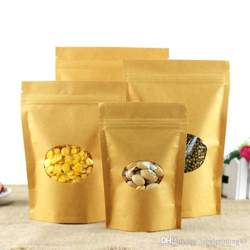 Brown Kraft Paper Standing bag with round window Food Storage Package bag Recyclable Coffee packing bags pouch snack cookies zip lock bags