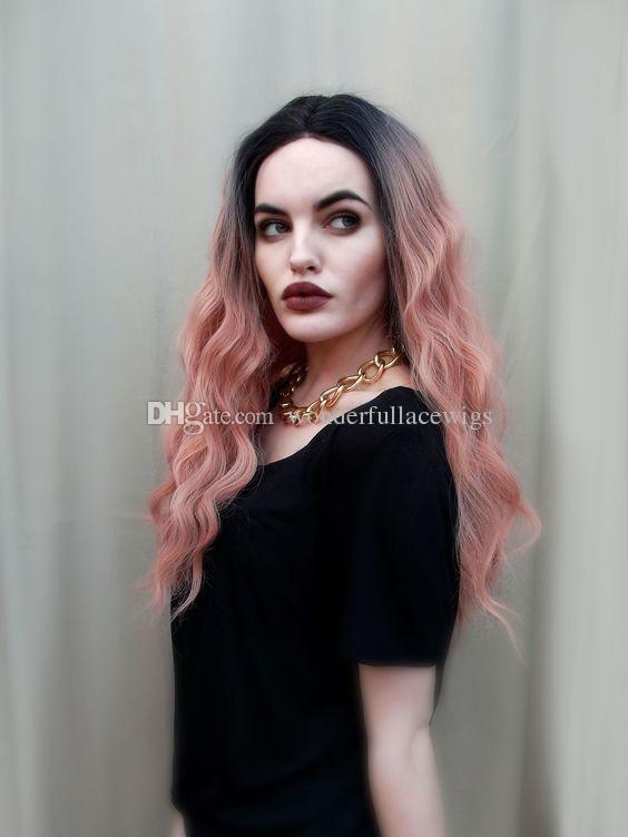 Длинные вьющиеся кружева передние парики розовый 2т свободные волны синтетические Ombre парик для женщин полный естественный дым розовые волосы с темными корнями