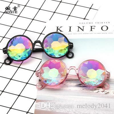 Brillen Disco Mosaik Ball Sonnenbrille Kaleidoskop Gläser Harzlinsen 4D Glaskristallanimation und elektronisches Musikfestival