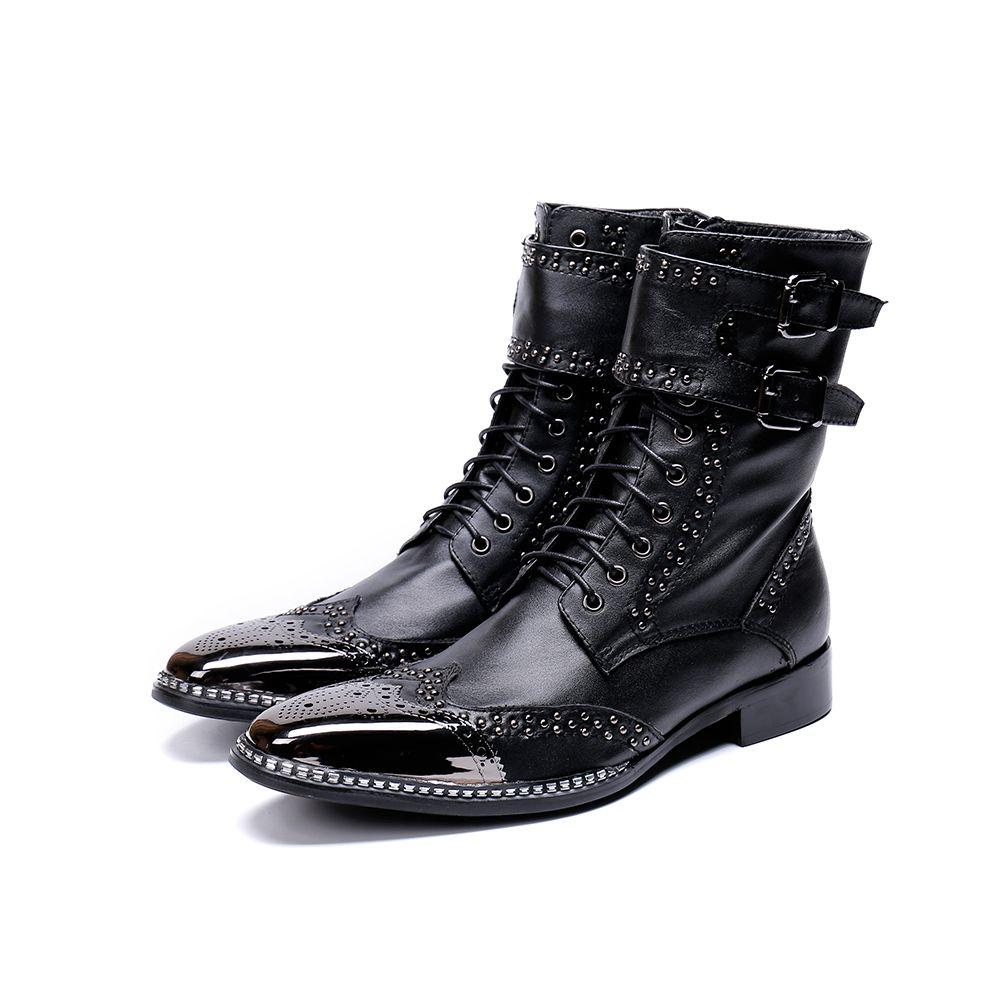 Yeni Erkekler Ayakkabı Sivri Metal Ucu Şövalye Boot Erkekler Siyah Hakiki Deri Savaş Botları
