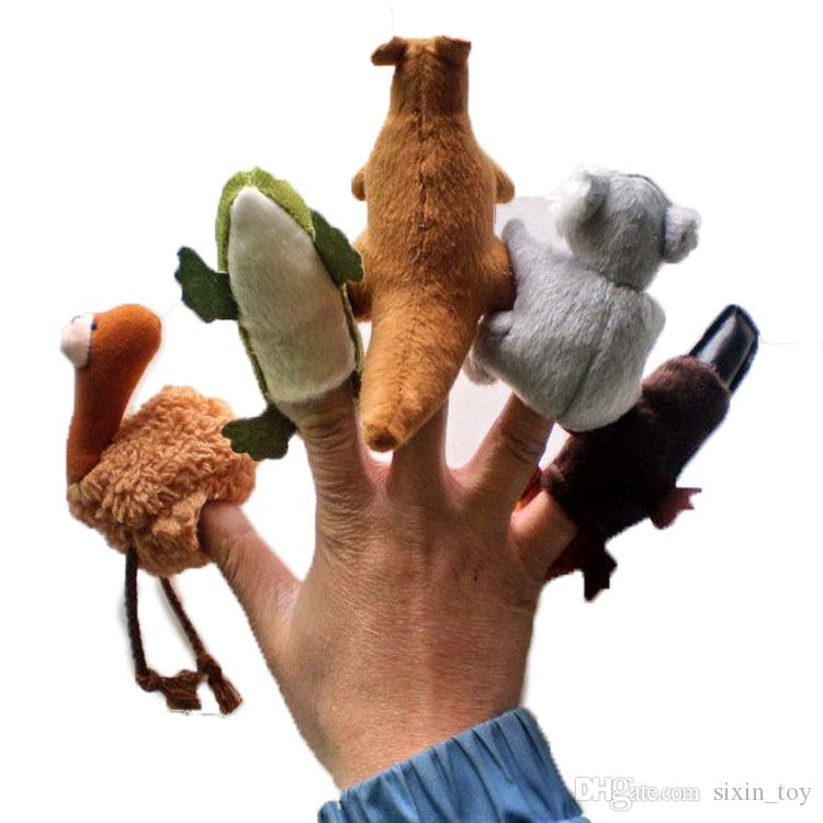 New Arrival 5pcs/lot Cartoon Australian animals Finger Puppet Toy Finger Doll Baby Dolls Baby Toys Stories Props Finger Puppets