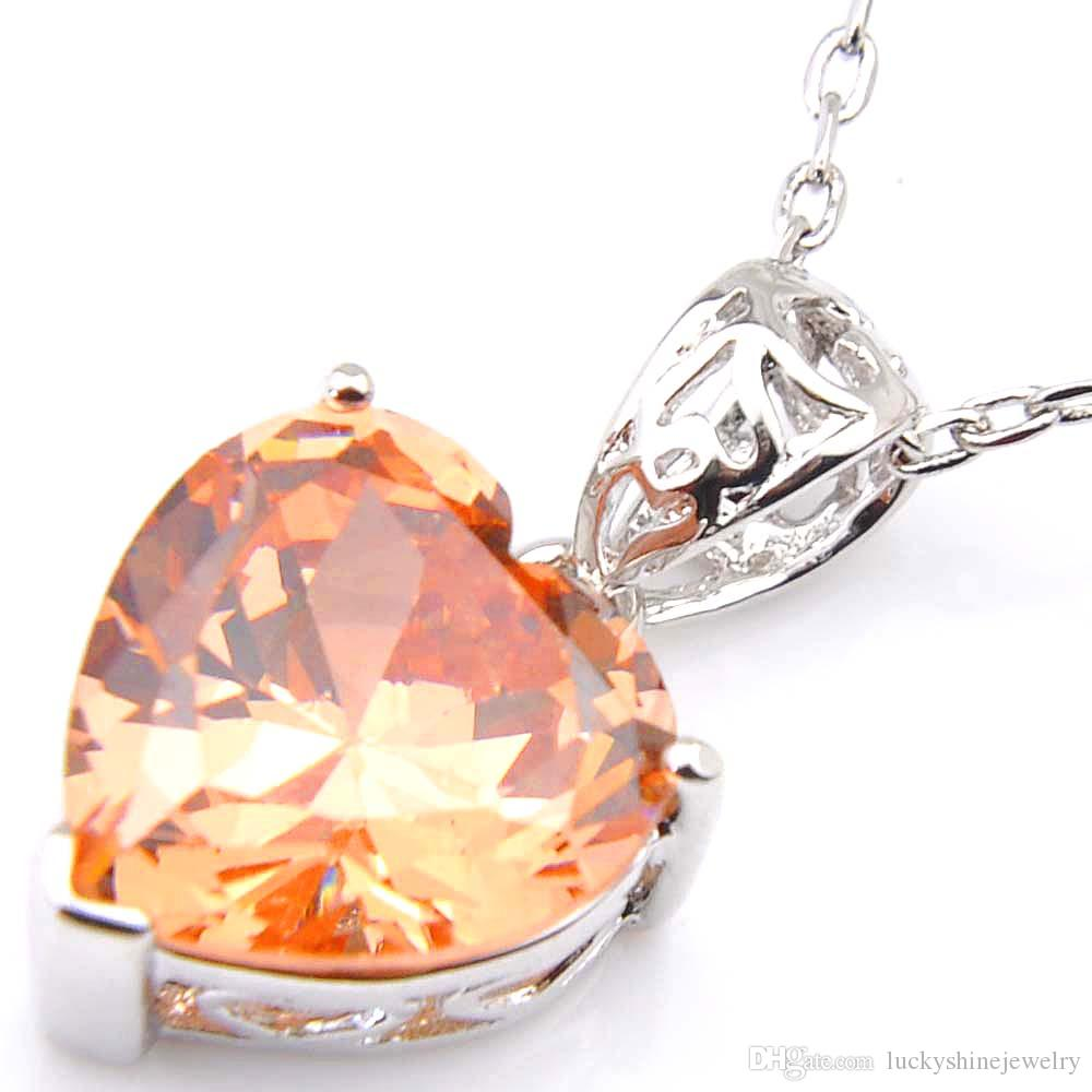 10 Pcs Luckyshine Excellente Brillance Coeur Feu Suisse Morganite Péridot Cubique Zircone Gemstone Argent Pendentifs Colliers pour les Vacances Weddin