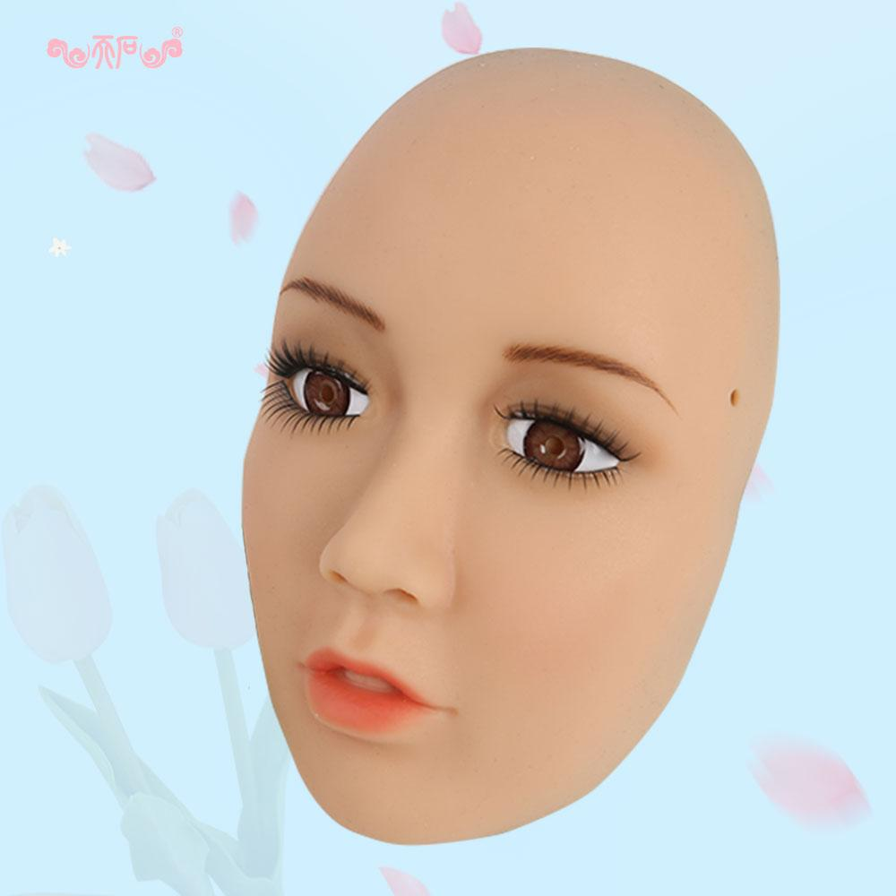 SH-1Shivell mask with boobs artificial breast forms for crossdresser Halloween masquerade More feminine silicone female mask
