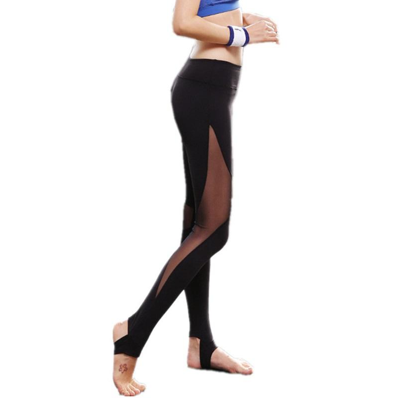High Waist Women Workout Pants 2017 New Summer Style Womens Fitness Leggings Sexy Mesh Leggings Stretch Pants LG201