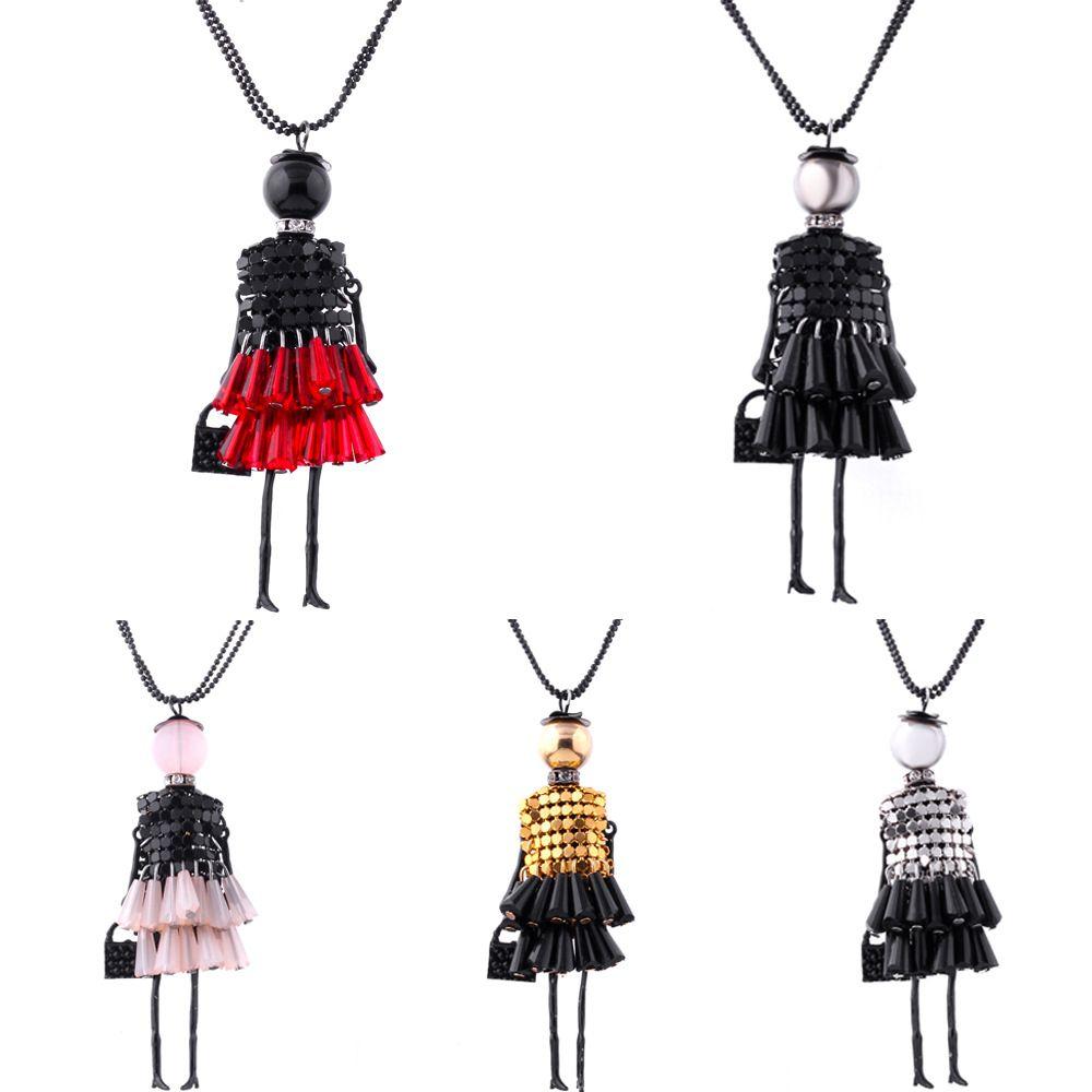 Anenjery Handmade Vestido De Cristal Peça Lantejoulas Menina Boneca Pingente Longo Colar de Cadeia Camisola collier Mulheres Acessórios N43