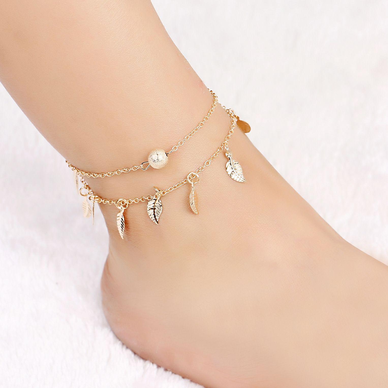 Sommer Strand Doppelschicht Blätter Anhänger Fußkettchen Fuß Kette Bohemian Handmade Perlen Fußkettchen Fuß Gothic Boho Schmuck für Frauen