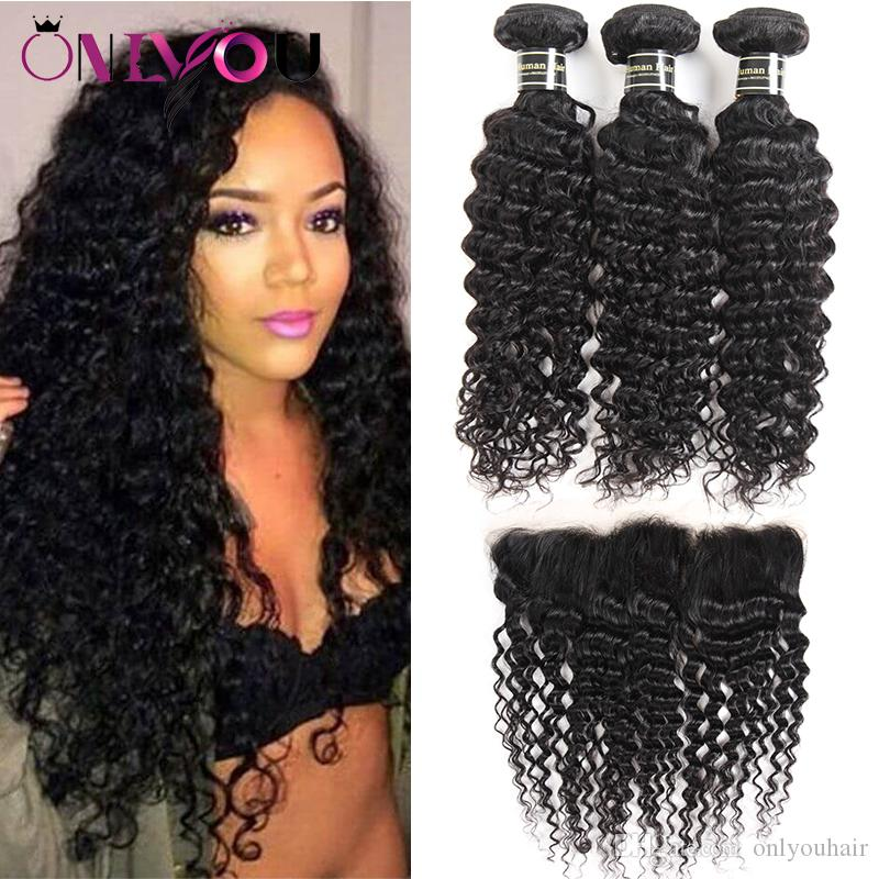 2019 Brazilian Deep Curly Hair Bundles With Lace Frontal Closure 3 Bundles Deep Wave Human Hair Weave Styles And Weaves Closure Human Hair Deals From